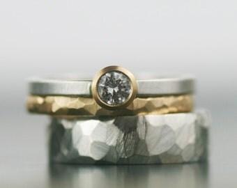 wedding bands, wedding band set, moissanite engagement ring, stacking gold wedding ring, women's wedding ring, women's wedding band