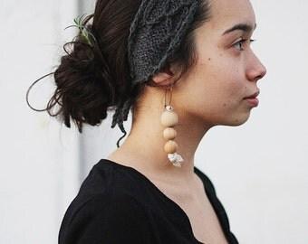 knit headband recycled TRELLIS - midnight blue
