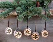 Snowflake Ornaments - Set of 5 - Wood burning on Birch