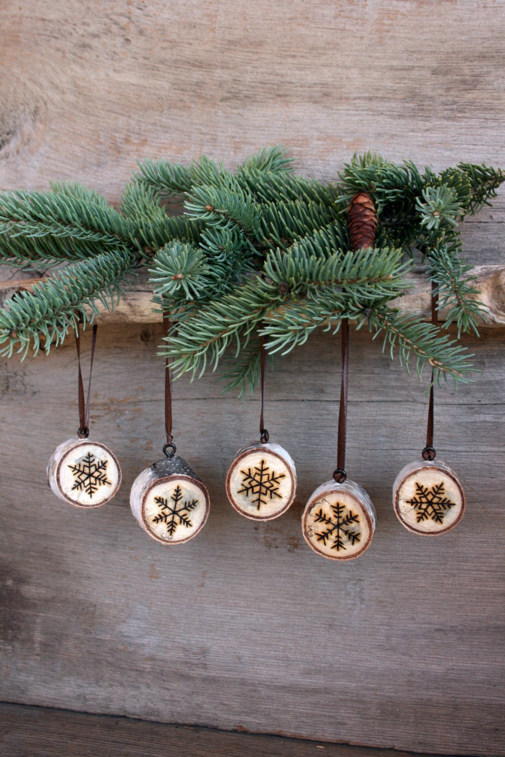 Snowflake ornaments set of 5 wood burning on birch for Wood decoration patterns