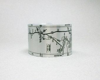Route 66 Amarillo Texas to Albuquerque New Mexico Map Cuff Bracelet for Men or Women