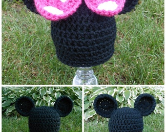 Mickey Mouse or Minnie Mouse Hat - size Newborn, 0-3 months, 3-6 months, or 6-12 months