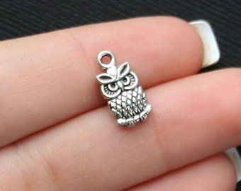 10 Owl Charms Antique  Silver Tone 2 Sided - SC1448