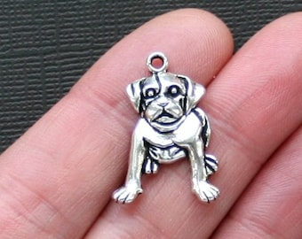 8 Dog Charms Antique  Silver Tone -  SC2553