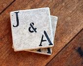 Personalized Coaster Set of 2, Natural Marble Coasters, Custom Engagement Wedding Housewarming, Rustic Decor Stocking Stuffer Under 25 Gift