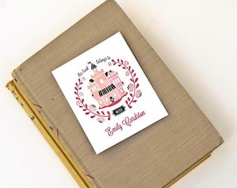 Fairy Tale Personalized Bookplates, Girl's Bookplate Sticker // DREAM CASTLE