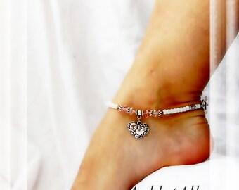 Blush of Love Bridal Anklet Heart Anklet Pink Crystal Body Jewelry White Jade Ankle Bracelet