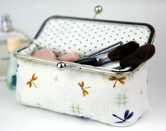Dragonfly Cosmetic Bag in Snow White (Pencil Case)