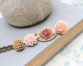 Flower Bobby Pins Floral Hair Accessories Romantic Cameo Pink Peach Rose Light Brown Tan Dahlia Hair Clips, Cameo Hair Pin - Set of Four (4)