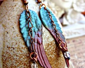 Angel Wing Earrings Blue and Marroon Ombre