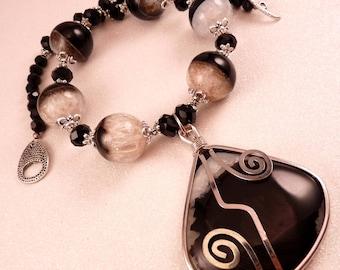 Gemstone Necklace Geode Druzy Agate  Beaded Necklace Gemstone Jewelry Beaded Jewelry Black Jewelry