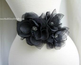 Bridal Organza Dahlia Floral Sash - Black - Bridal Sash Belt - Flower girl Bridesmaids Sash Set - Wedding Gift Accessory