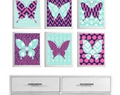 Nursery Ikat Butterfly Wall Art Turquoise Navy Hot Pink set of 6