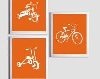 Nursery Boy Tricycles and Bicycle Transportation Orange set of 3