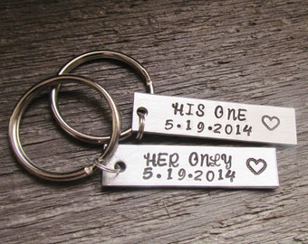 SET OF 2 Couples Key Chain Custom His One Her Only WEDDING Keychains Hand Stamped Personalized Made To Order Anniversary Engagement