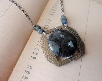 Black & Blue - Vintage Metal Buckle Necklace with Labradorite Pendant and Kyanite Chips, Assemblage, Re-Purposed, Up-cycled