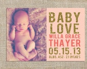 Glitter Banner Baby Announcement Design