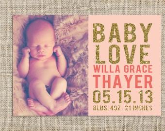 Glitter Banner Baby Announcement Design