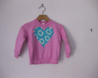 Pink Heart Sweatshirt 18 month Hand Dyed Cotton