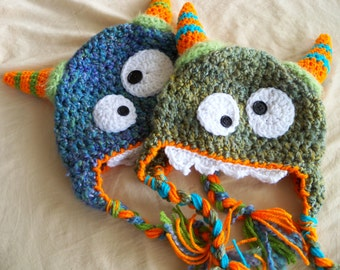 Monster Hats - Baby Monster Hat - Twin Mortry and Mork the Monster Hats - Halloween Costume - Baby Boy  Earflap Hat