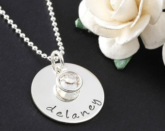 "Personalized Necklace with birthstone - single 3/4"" disc"