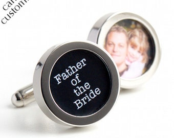 Father of the Bride Cufflinks with Photo of Father and Daughter Typewriter Font PC440