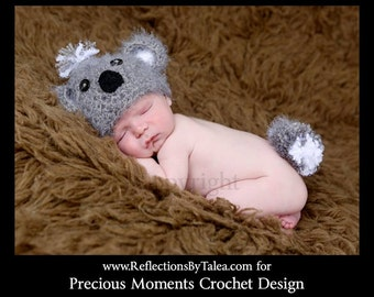 Baby Koala Bear Hat and Fluffy Tail, Crochet Koala Bear Hat, Newborn Koala Bear Hat Set, Baby (0-3 months) Photo Prop