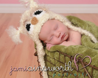 Baby Owl Hat -  Newborn Owl Hat - Newborn Photo Prop, Fuzzy Owl Hat, Baby Crochet Hat Photo Prop
