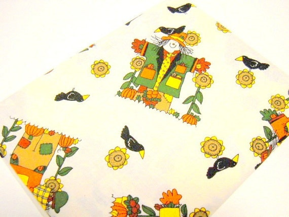 Scarecrow Print Fabric, Sewing Notions, One Yard Fabric Remnant, 1 yd Scarecrow Print, Autumn Colors