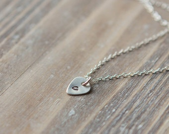 Initial Necklace - Tiny Guitar Pick Necklace - Sterling Silver - Music Necklace - Layering Necklace