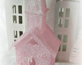 PINK CHURCH ornament 6 1/2 in shabby decoration glittered