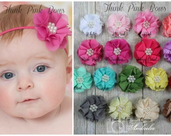 PICK THREE,Baby Headbands,newborn headband,Infant Headband, Toddler Headband, Baby girl Headband, Pink Headband, White Headband, Hair Bows