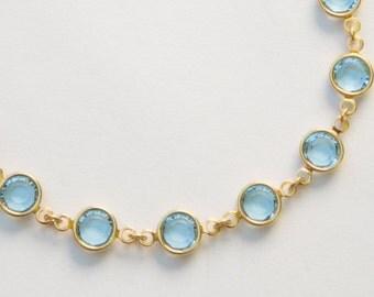 Gold Aquamarine Bracelet, March Birthstone Jewelry, Pale Blue Swarovski Crystal Bracelet, Aquamarine Jewelry