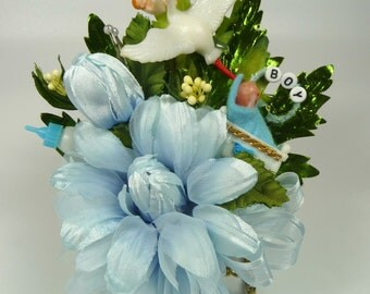 Baby Shower Corsage Vintage Stork Blue Daisies It's a Boy Mommy to Be Cake Topper Decoration