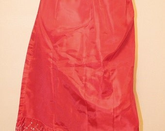 Vintage Red Taffeta Half Slip Small