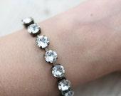 Crystal Bridal Bracelet Wedding Jewelry - Vintage Jewel Crystal Antique Brass Clear Bridesmaids Wedding