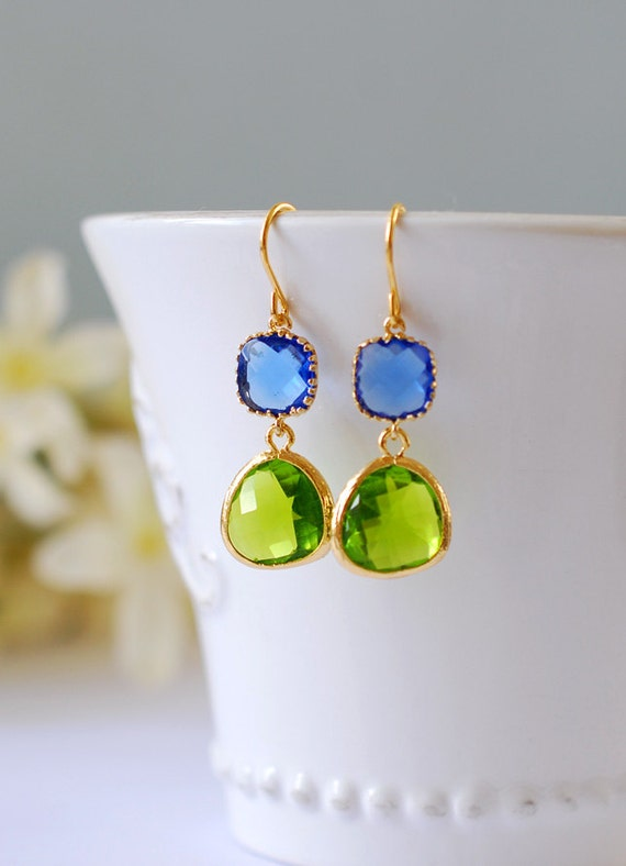 Blue and Green Earrings, Cobalt Blue Peridot Green Dangle Earrings, Apple Green Sapphire Blue, Blue and Green Wedding Jewelry, Gift for her