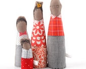 Soft sculpturen , Family portrait , African dolls - Parents & two boys dressed in red, gray, dotted ,plaid, flowery- timo handmade eco dolls