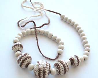 CLEARANCE SALE - Necklace of crocheted balls and wooden beads