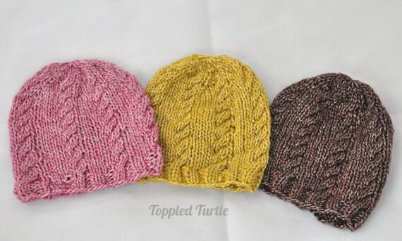 Newborn Photo Prop Knit Cable Hat | Newborn Knit Baby Hat | Cable Knit Baby Hat | Merino Photo Prop