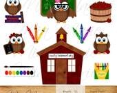 INSTANT DOWNLOAD - Digital Clip Art - School clipart, School clip art, owl clipart, owl clip art, teacher, crayon, paint, apple, chalkboard