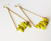 Simple Trapeze Dangle Earring in Chartreuse Neon Green Coral - Isoscelea