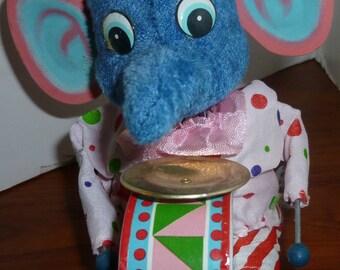 Elephant Drummer Vintage Wind Up Toy, 1950s