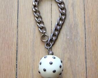 Antique 30's/40's Cream Brass Studded Bakelite Charm Brass Bracelet