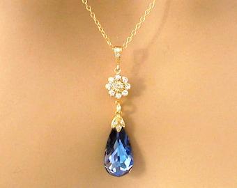 Dark Blue Necklace, CZ, Swarovski MaliBlue Blue Crystal Necklace, Bridal Necklace, Gold Fill, Bridesmaid Gift Bridal Wedding Jewelry