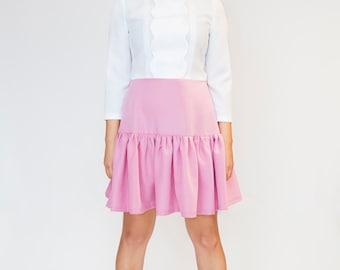 White pink A line cute tea dress retro mod 60s scooter custom made