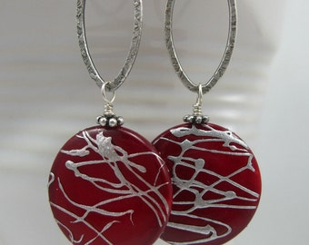 Red and Silver Mother of Pearl, MOP Sterling Silver Earrings