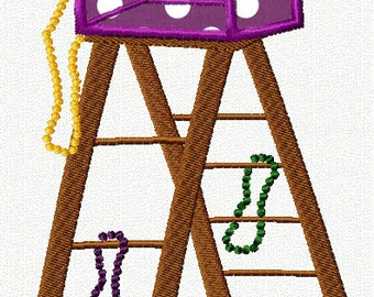 Mardi Gras Ladder Applique Embroidery Design