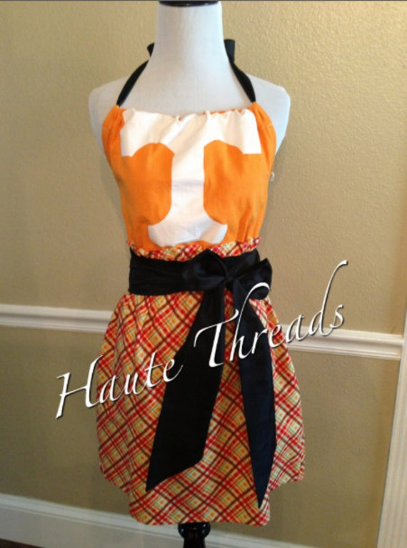 Tennessee Volunteers VOLS Orange Halter Gameday Football Dress with Black Sash Bow - Medium