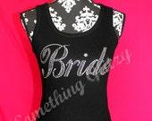 Bride Mega Bling Rhinestone Tank Top or Tee, Plus Size Bride, Bride Tee, Bride Shirt, Bride Bling, Bridal Party, Bride Rhinestone Tank,